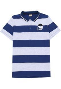 Camisa Milon Infantil Listras Azul/Cinza
