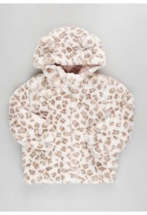 Jaqueta Infantil Estampada Animal Print Onça Em Pelúcia Com Capuz Bege Claro