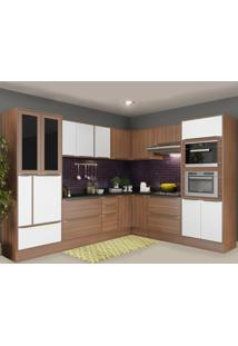 Cozinha Completa 19 Portas 4 Gavetas 5461Rmf Nogueira/Branco - Multimóveis