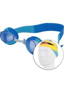 Kit De Natação Speedo Fish Combo Com Óculos + Touca - Infantil - Azul Claro