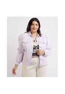 Jaqueta Jeans Feminina Plus Size Com Recortes E Bolsos Lilás