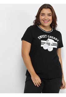 Camiseta Lecimar Sweet Cherry Plus Size Feminina - Feminino-Preto