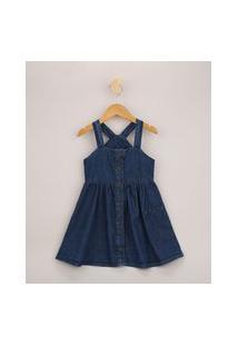 Vestido Jeans Infantil Curto Com Bolso Alça Média Azul Escuro