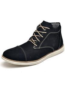 Bota Casual Em Couro Fk Shoes Cano Curto Preto - Preto - Masculino - Dafiti