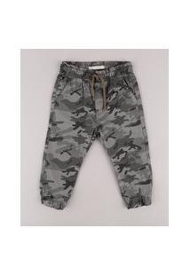 Calça De Sarja Infantil Jogger Estampada Camuflada Com Cordão Verde Militar