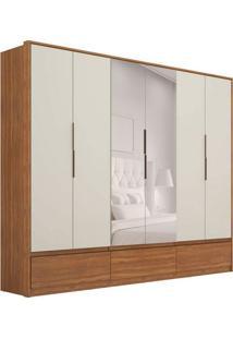Guarda-Roupa Casal Com Espelho Moara I 6 Pt 7 Gv Amêndola E Off White