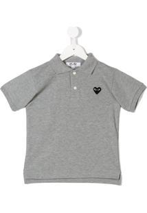 Comme Des Garçons Play Kids Camisa Polo  Coração  - Grey 52c85d46df3ce