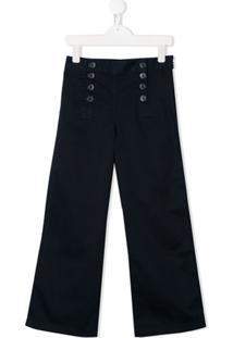 Ralph Lauren Kids Calça Pantalona Lisa - Azul