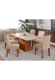 Conjunto De Mesa Helen 1,80 Para Sala De Jantar Com 6 Cadeiras Clarice-Cimol - Savana / Off White / Nude