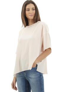 Camiseta Le Lis Blanc Ampla Juli Seda Rosa Femininana (Blush, 50)