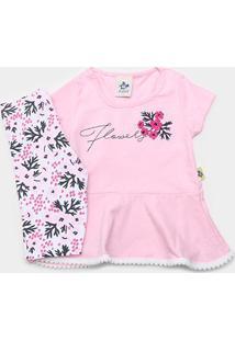 Conjunto Infantil Andritex Short Cotton Estampado Flowers Femenino - Feminino-Rosa