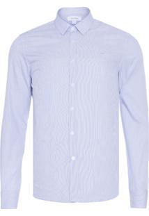 Camisa Masculina Slim Geneva Micro Listrado - Azul