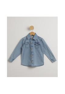 Camisa Infantil Jeans Manga Longa Azul Claro