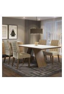 Conjunto Sala De Jantar Madesa Diana Mesa Tampo De Madeira Com 4 Cadeiras Rustic/Branco/Imperial