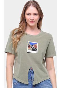 Camiseta Cantão Babylook Recorte Manga Curta Feminina - Feminino