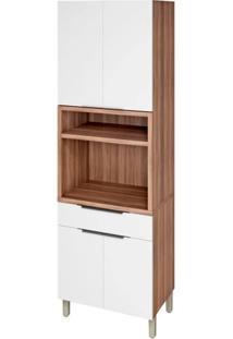Módulo De Cozinha Paneleira 4 Portas 1 Gaveta - 70 Cm - 500239 - Nogal Com Branco - Donna - Nesher