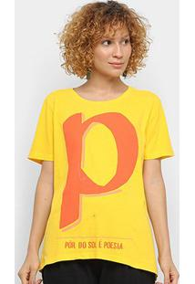 Camiseta Farm Por Do Sol Feminina - Feminino-Amarelo