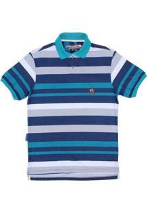 c630e7df61 Camisa Polo Listrada Rodeo Western Masculina - Masculino-Azul