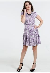 Vestido Feminino Manga Curta Estampa Floral Marisa