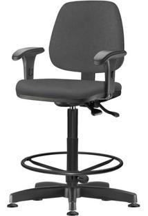 Cadeira Job Com Bracos Assento Courino Cinza Escuro Base Caixa Metalica Preta - 54532 Sun House