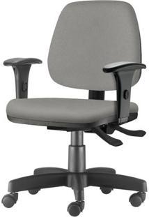 Cadeira Job Com Bracos Assento Courino Cinza Claro Base Rodizio Metalico Preto - 54603 Sun House