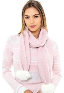 Cachecol Katze Pompom Pele - Feminino-Rosa