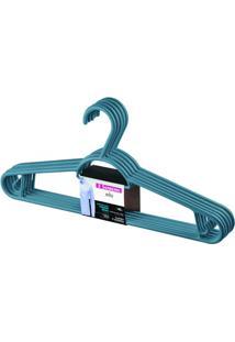 Cabide Em Plástico Pendura Mais Azul Com 6 Peças