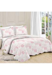 Conjunto De Colcha Patchwork Floral Casal- Branco & Rosacamesa