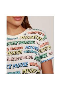 T-Shirt Feminina Mindset Mickey Mouse Estampada Manga Curta Decote Redondo Off White