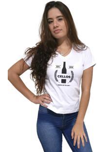 Camiseta Feminina Gola V Cellos Drink Premium Branco - Kanui