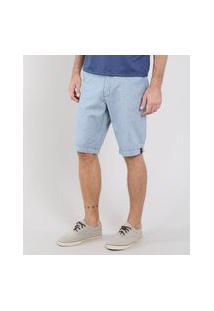 Bermuda Masculina Slim Com Bolsos E Cinto Azul