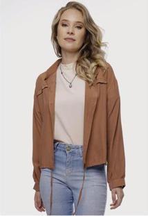 Jaqueta Sob Leve Com Botões Feminina - Feminino-Marrom Claro