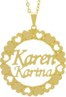 Gargantilha Horus Import Pingente Manuscrito Karen Karina Banho Ouro Amarelo