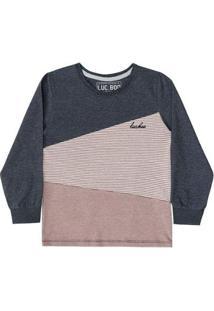 Camiseta Infantil Luc.Boo Manga Longa Tricolor Masculina - Masculino-Marrom