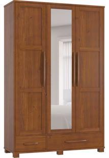 Guarda-Roupa Casal Com Espelho Pérola 3 Pt Imbuia