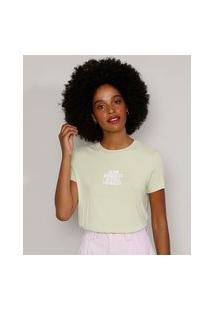 "Camiseta Feminina Manga Curta Canelada ""Slow Progress"" Decote Redondo Verde Claro"