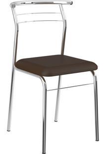 Kit 2 Cadeiras 1708 Napa Cromado Móveis Carraro Marrom