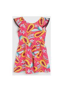 Vestido Nanai By Kyly Infantil Frutas Rosa/Amarelo