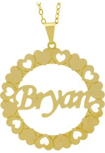 Gargantilha Horus Import Pingente Manuscrito Bryan Banho Ouro Amarelo