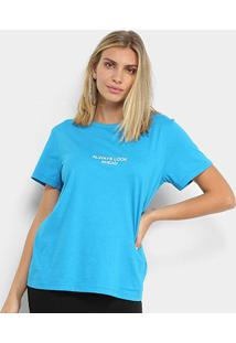 Camiseta Colcci Always Look Ahead Feminina - Feminino-Azul