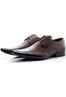 Sapato Social Masculino Couro Cadarço Bico Fino Conforto - Masculino-Marrom