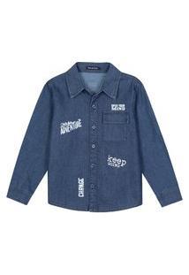Camisa Jeans Infantil Menino Estampado Jeans Escuro