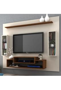 Painel Para Tv Até 55 Polegadas Vivace Off White/Nogueira - Manto Móveis