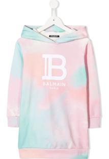 Balmain Kids Vestido Tie-Dye Com Capuz - Rosa