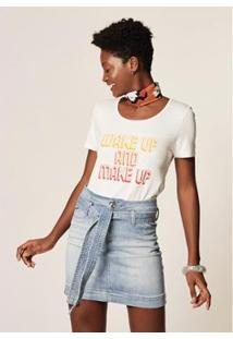 Camiseta Mob Malha Wake Up Feminina - Feminino-Off White