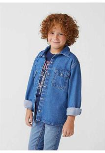 Camisa Jeans Infantil Menino Manga Longa Overshirt