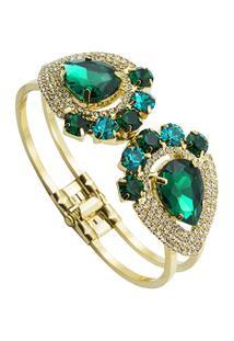 Bracelete Tudo Joias Com Pedras Folheado A Ouro 18K - Feminino-Dourado