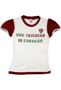 Baby Look Reve D'Or Sport Glitter Fluminense Branca E Grená