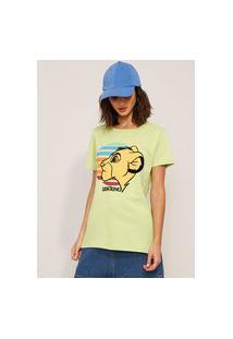 Camiseta De Algodão Simba O Rei Leão Flocada Manga Curta Decote Redondo Verde Claro