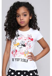 Blusa Infantil Minnie Com Brilho Manga Curta Off White